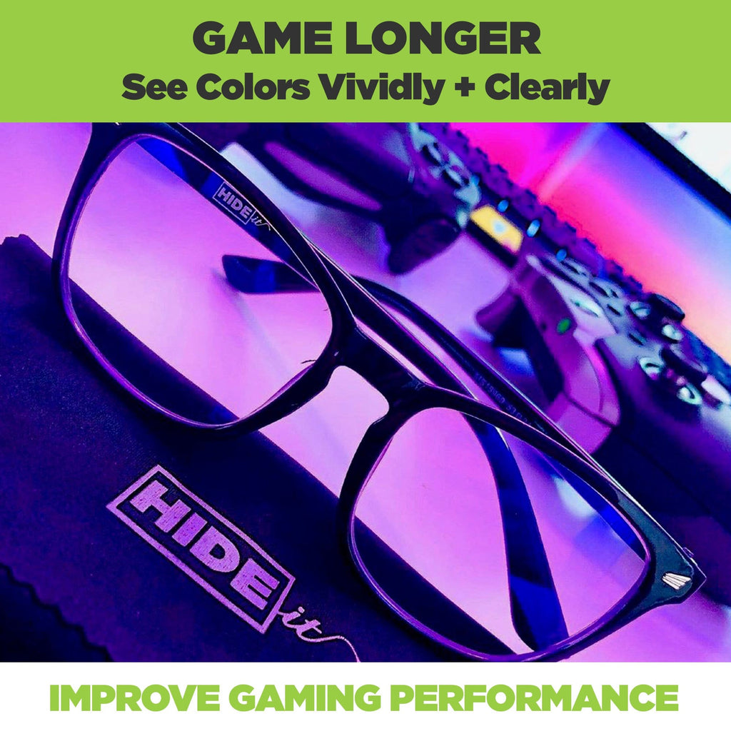 HIDEit Gaming glasses with clear lenses to improve color clarity and block blue light from computers.