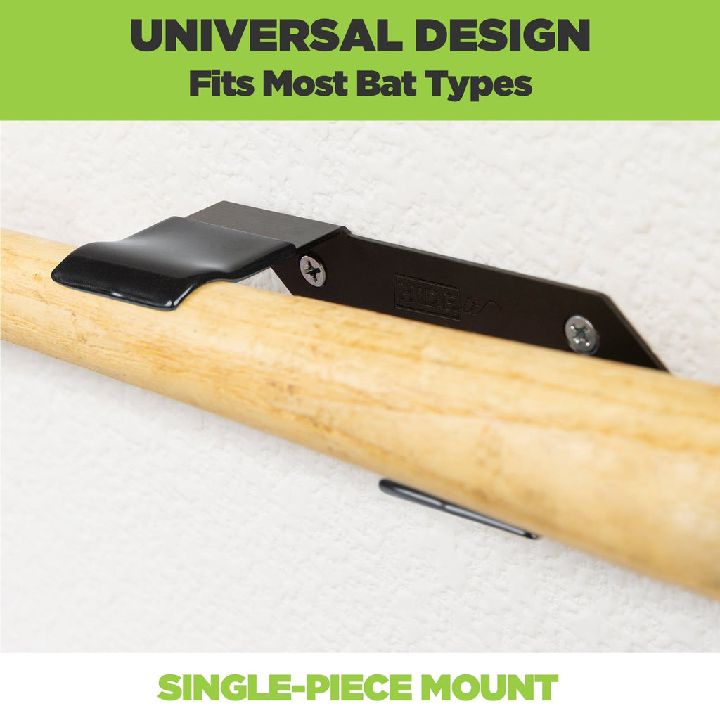 Adult baseball bat is securely held in the HIDEit HBat Horizontal bat wall mount.