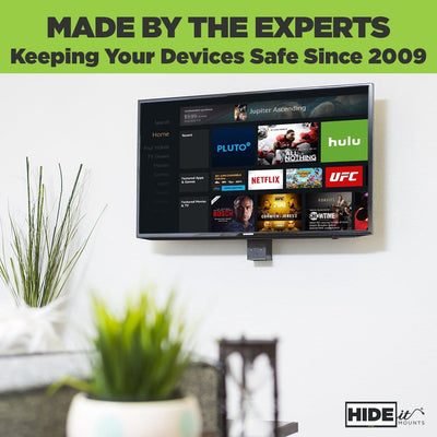 Amazon Fire TV Cube Wall Mount by HIDEit safely holds fire cube in place on the wall, while also hidden behind the TV.