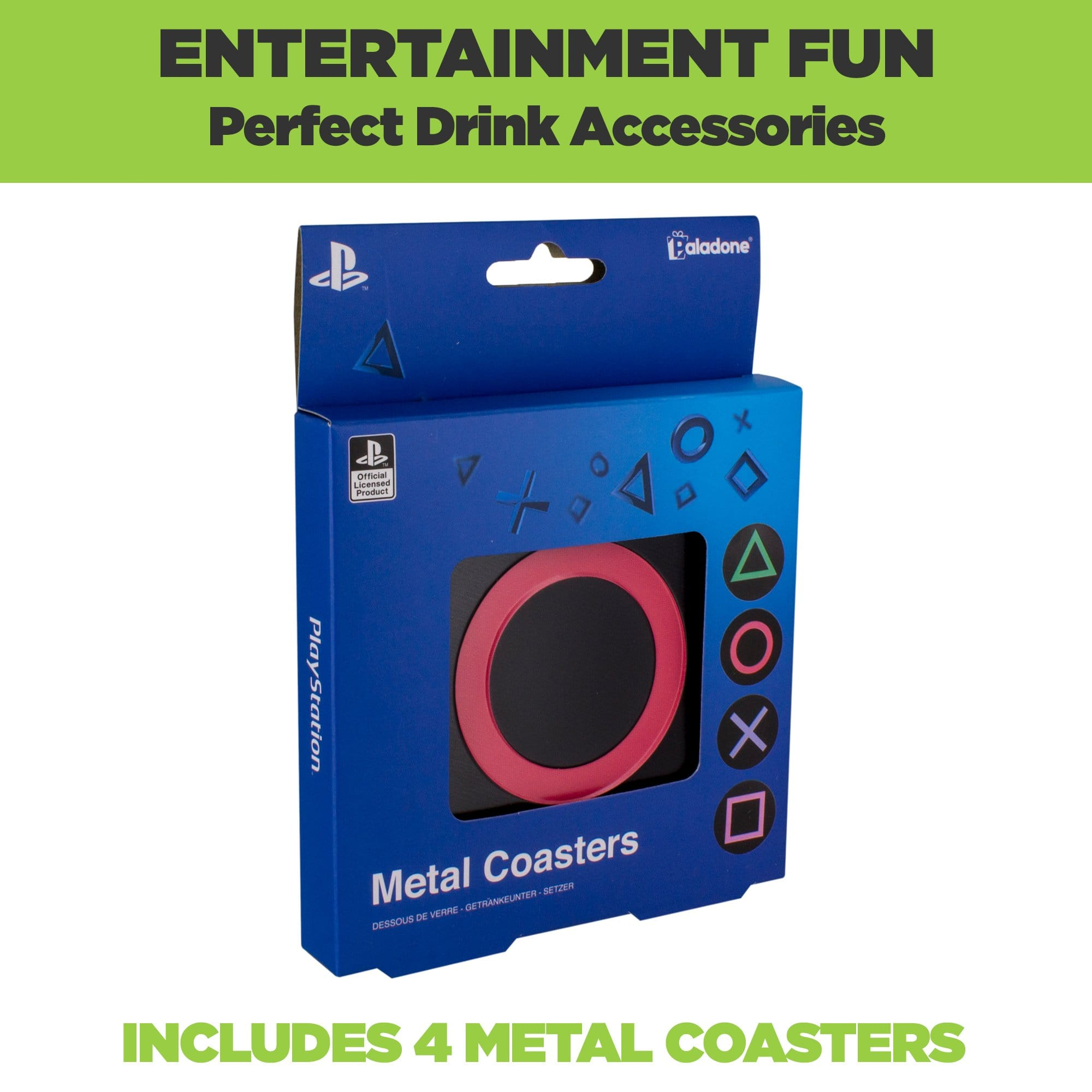 PlayStation Metal Coasters come in official PlayStation packaging. Includes 4 metal coasters.