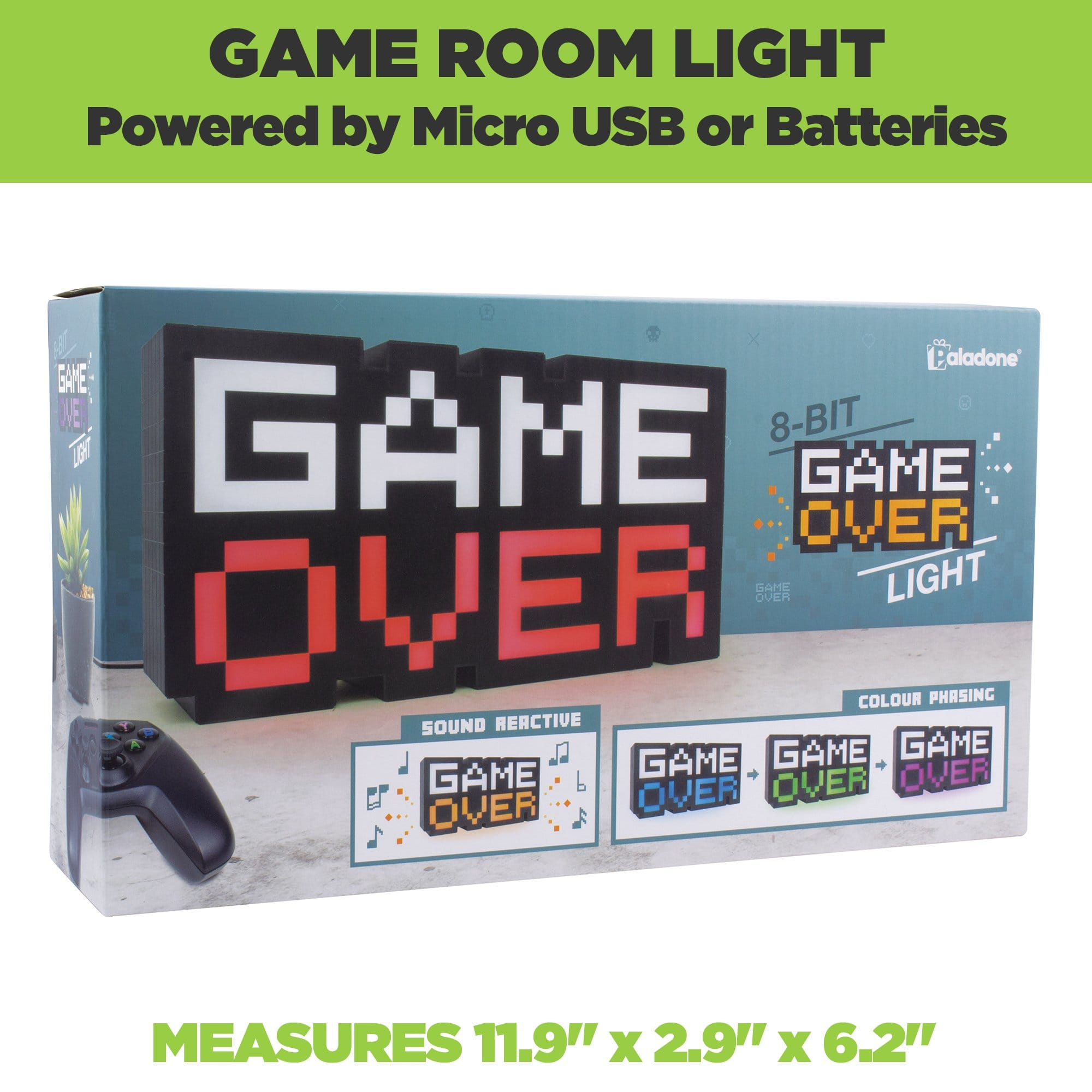 8-bit Game Over Light come in retro packaging and is powered by Micro USB or batteries.