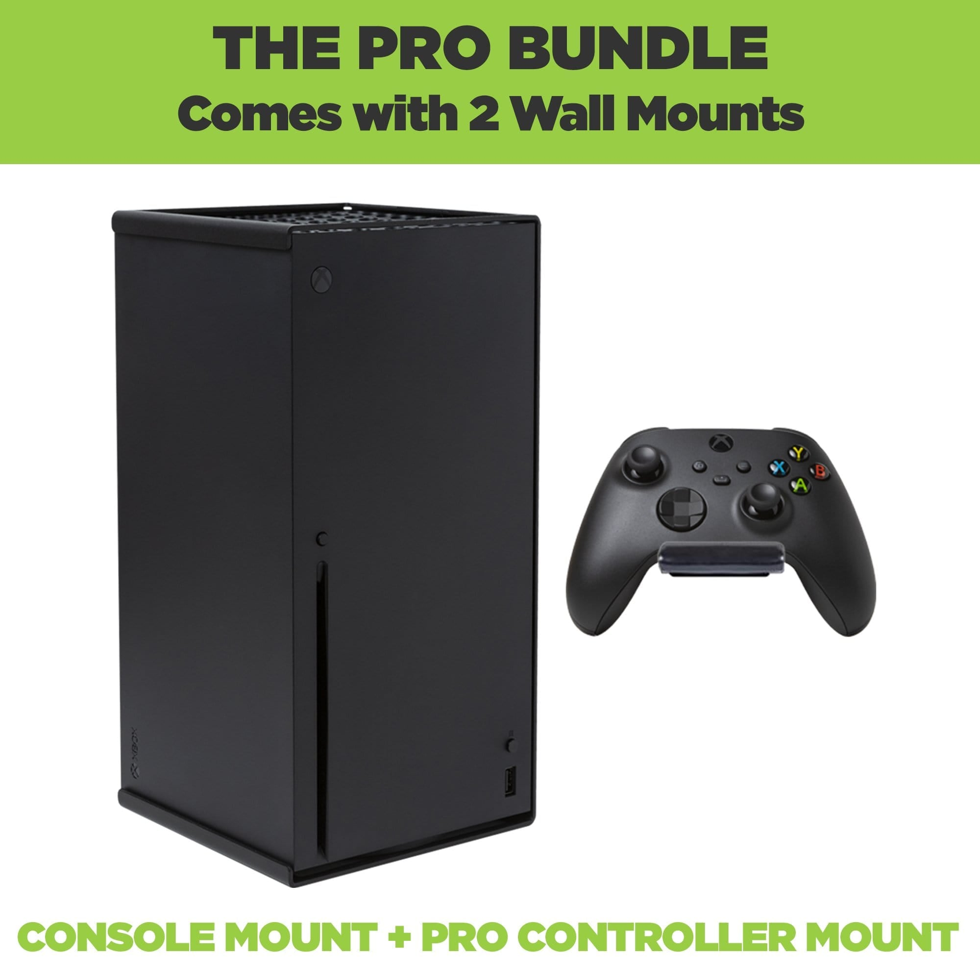 HIDEit Xbox Series X Pro Bundle comes with one mount for the Xbox Series X and one wall mount for the new Xbox controller