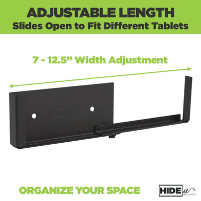 Adjustable and universal wall mount for tablets, designed by HIDEit Mounts.