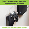 HIDEit Mounts video game controller mount next to Xbox console for easy access and charging.
