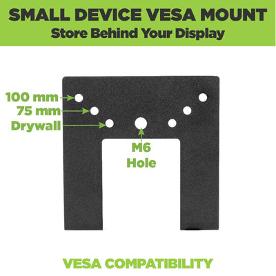 Steel HIDEit Uni-SW VESA Mount is VESA compatible and adjustable.