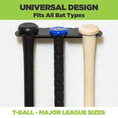 HIDEit Sports Universal Design Triple Bat Mount for bat sizes t-ball up to Major League Bats.