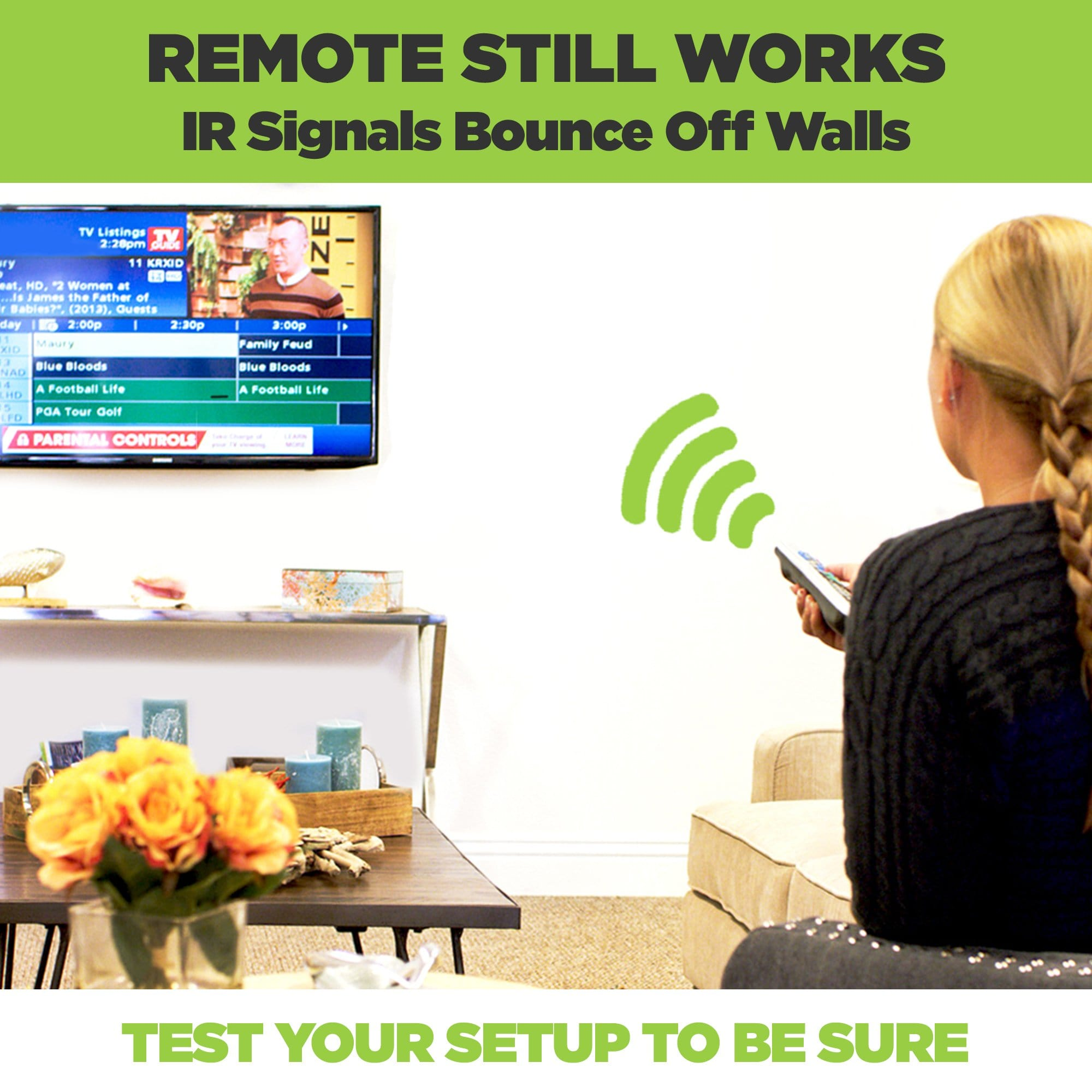 Remote still works with cable box mounted behind the wall mounted TV.