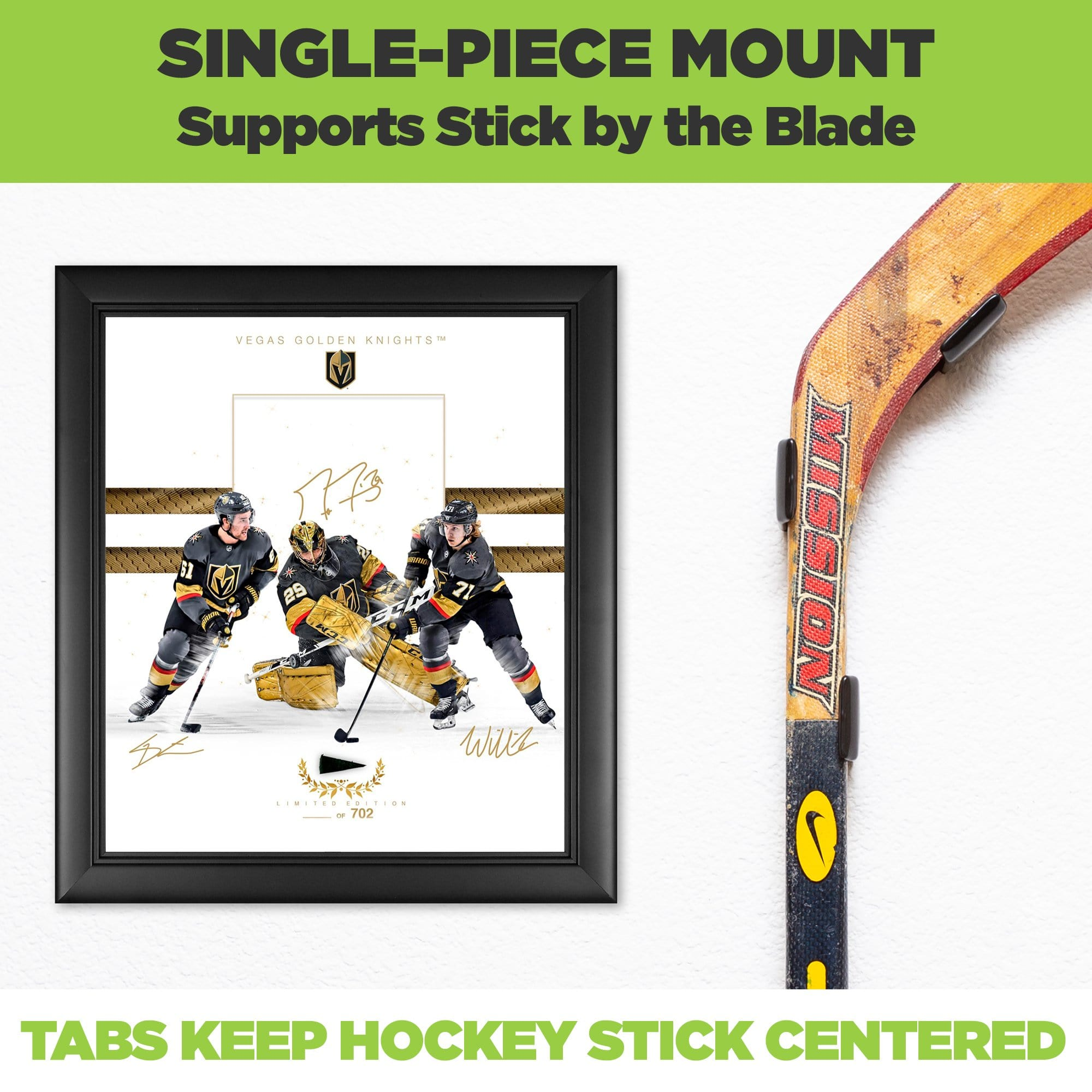 Close up of a hockey stick wall mounted in the HIDEit Vertical Hockey Stick Wall Mount. Next to Golden Knights hockey memorabilia.