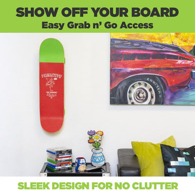 Kids skateboard mounted on the wall next to a picture in a vertical skateboard mount made by HIDEit Mounts.