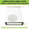 Xbox One S wall mount by HIDEit Mounts keeps console cool.