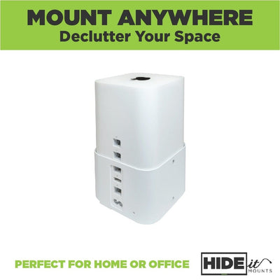 AirPort Extreme Router securely held in the steel HIDEit Air-XT wall mount for Apple AirPort Extreme.