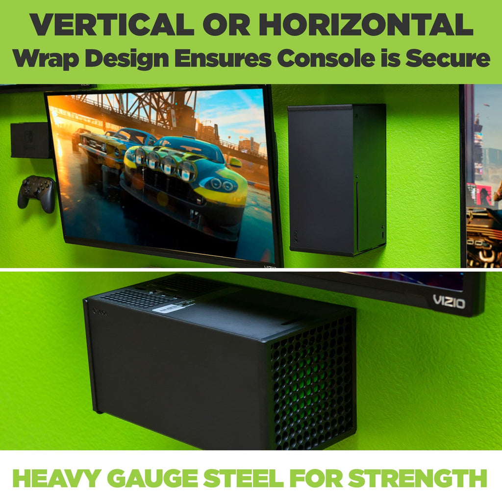 In the HIDEit Xbox Series X Mount, the Xbox can be mounted vertically next to your TV or horizontally below your TV.