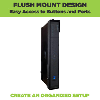Flush mount design of the HIDEit Large Wall Mount keeps cable boxes hidden and out of sight.