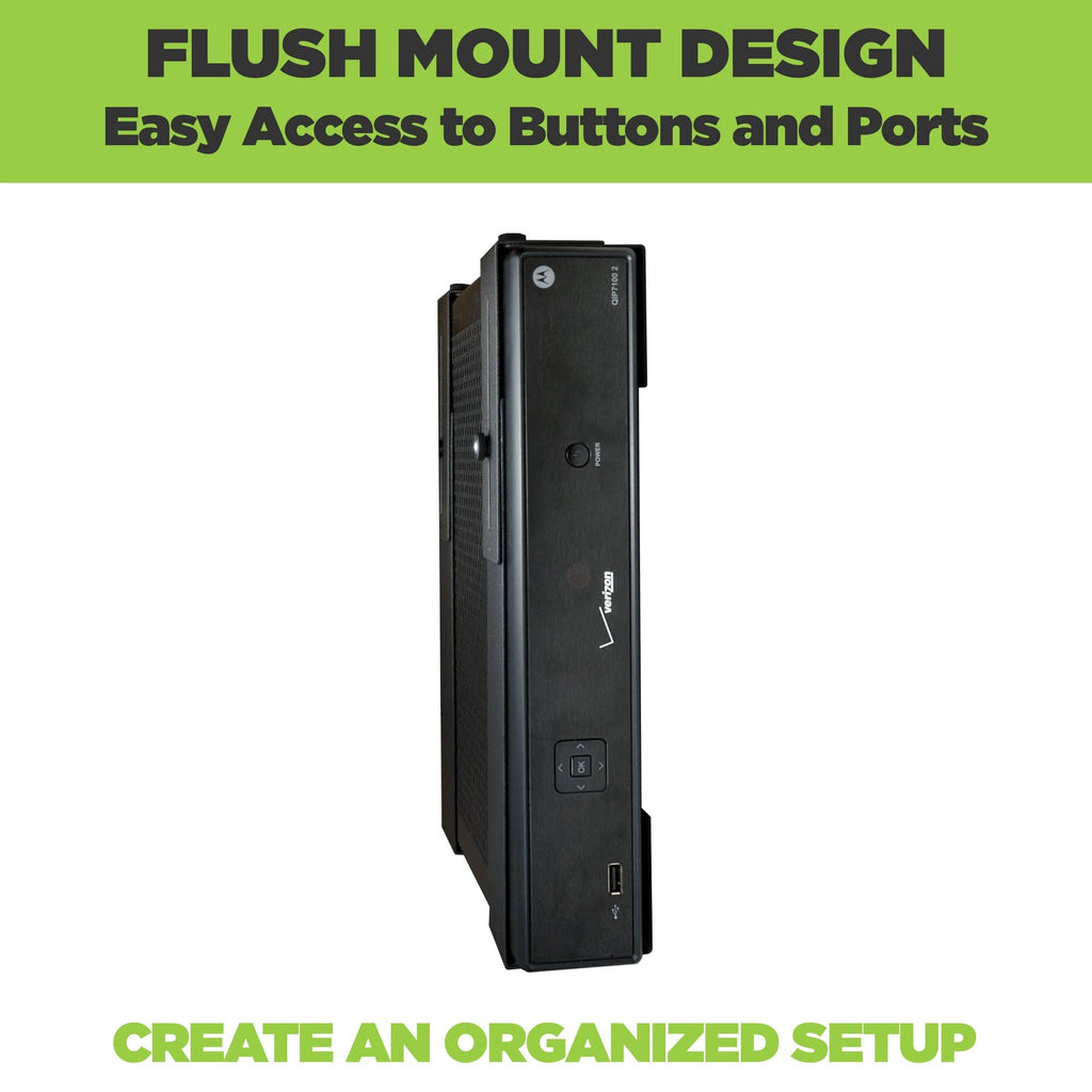 Medium-sized electronic device mounted in a universal + adjustable HIDEit wall mount.