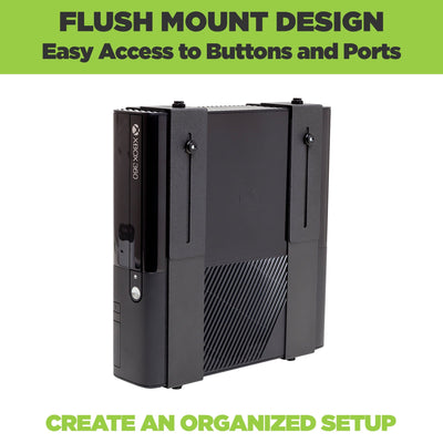 Adjustable steel wall mount designed to perfectly fit medium cable boxes, game consoles and satellite receivers.