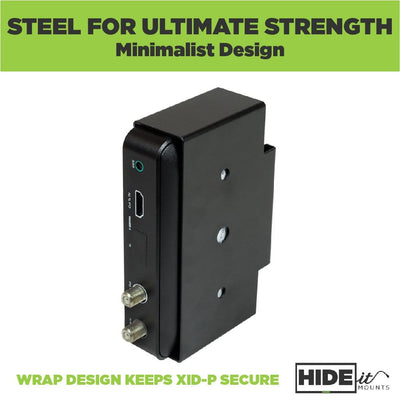 HIDEit wall mount for Xfinity XiD-P box securely storing an Xfinity box.