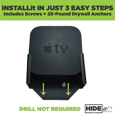 Apple TV 3rd Gen by HIDEit Mounts is easily installable, DIY, no drill required.
