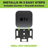 Apple TV 5th gen is installed into HIDEit ATV4K Mount easily and without a drill.