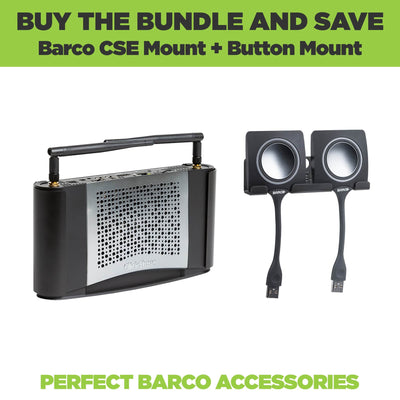 Barco ClickShare and ClickShare Button Wall Mount Bundle made from steel.