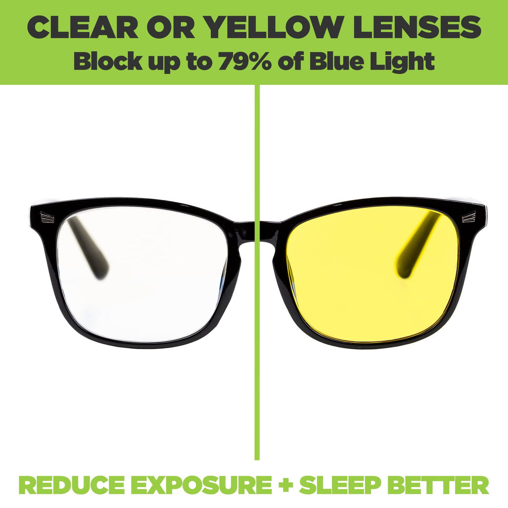 HIDEit Mounts blue light glasses available with clear or yellow lenses for all day use.