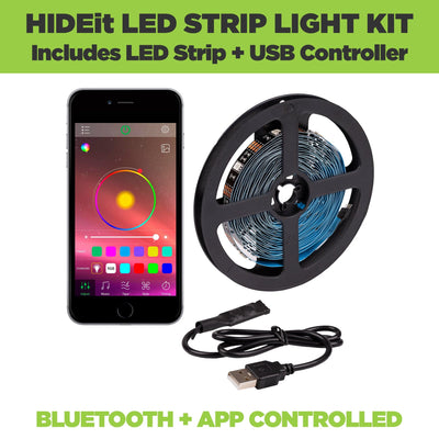 HIDEit LED Strip Lights include LED strip and remote. Bluetooth and app controlled LED Strip Light Kit.