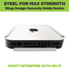 Silver Mac mini securely held in HIDEit Mount without interfering with Wi-Fi.