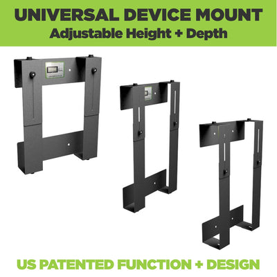 Side views of the HIDEit Adjustable Network Switch Wall Mount made from steel
