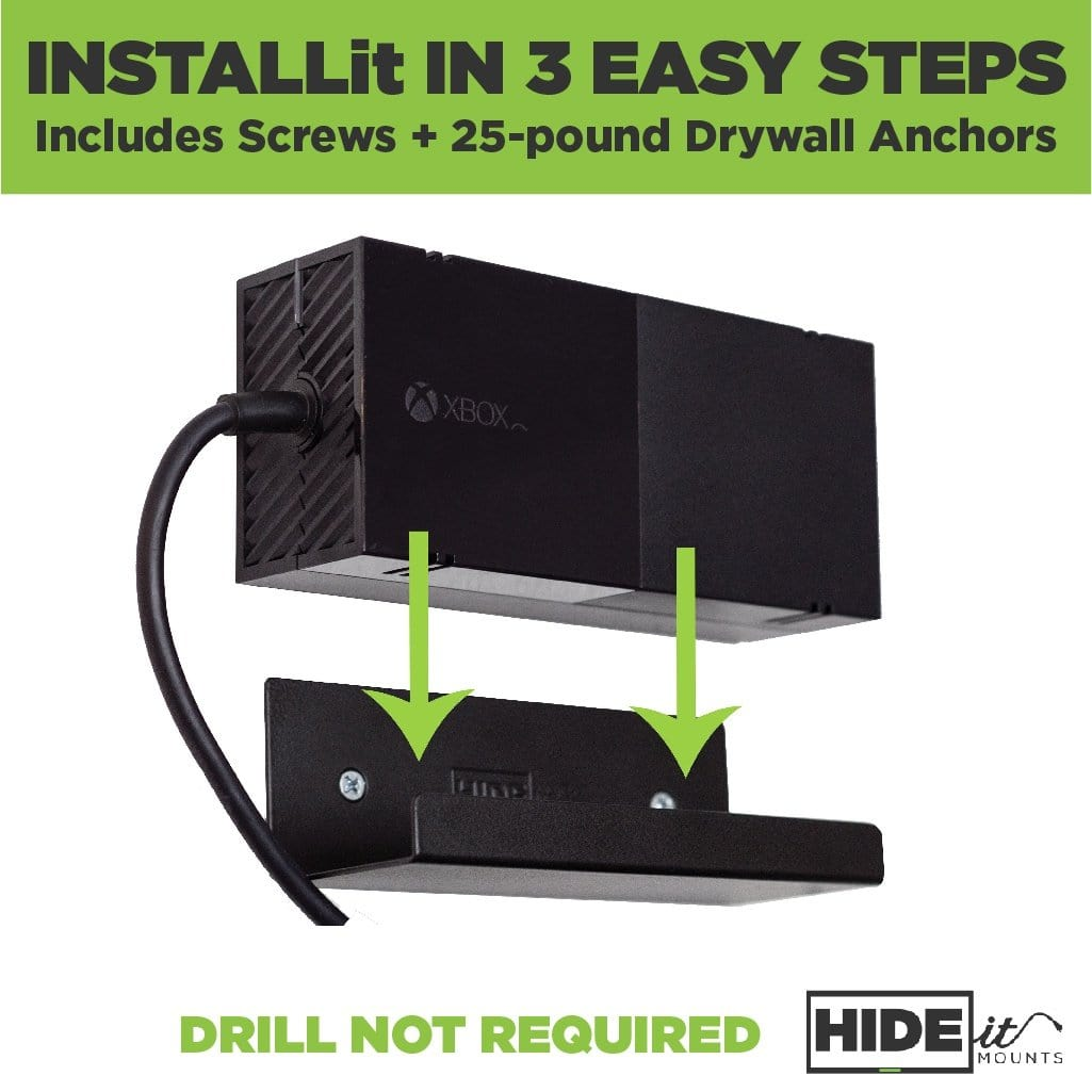 Easily install black, steel HIDEit Power Brick Wall Mount without a drill.
