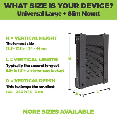 Large electronic device securely held in an adjustable HIDEit wall mount for bulky electronic devices.