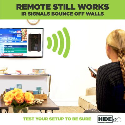 Remote still works. IR signals bounce off walls. Test your setup to be sure. Woman using tv remote.