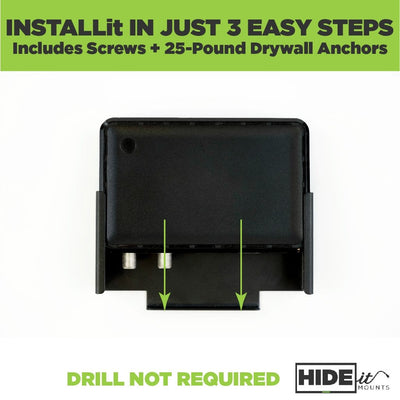 HIDEit XiD-P wall mount is easily installed, drill not required.