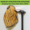 HIDEit SPORTS Triple Bat Mount with a baseball glove, baseball, and bat mounted to the wall.