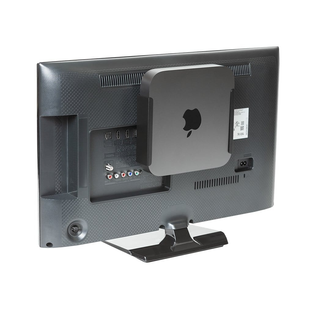 Black steel HIDEit Mount securely holding new Mac mini (2018).