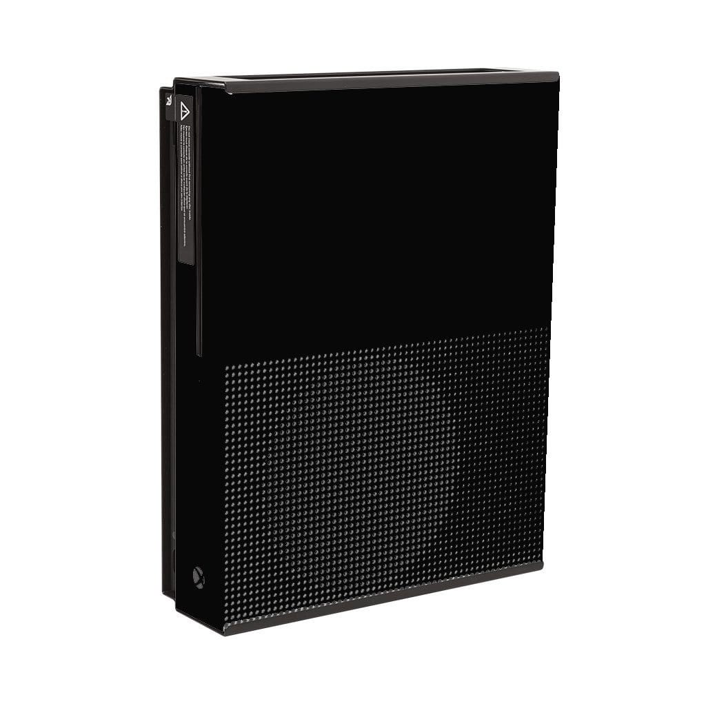 Black Xbox One S mounted in a black steel HIDEit Xbox One S Wall Mount