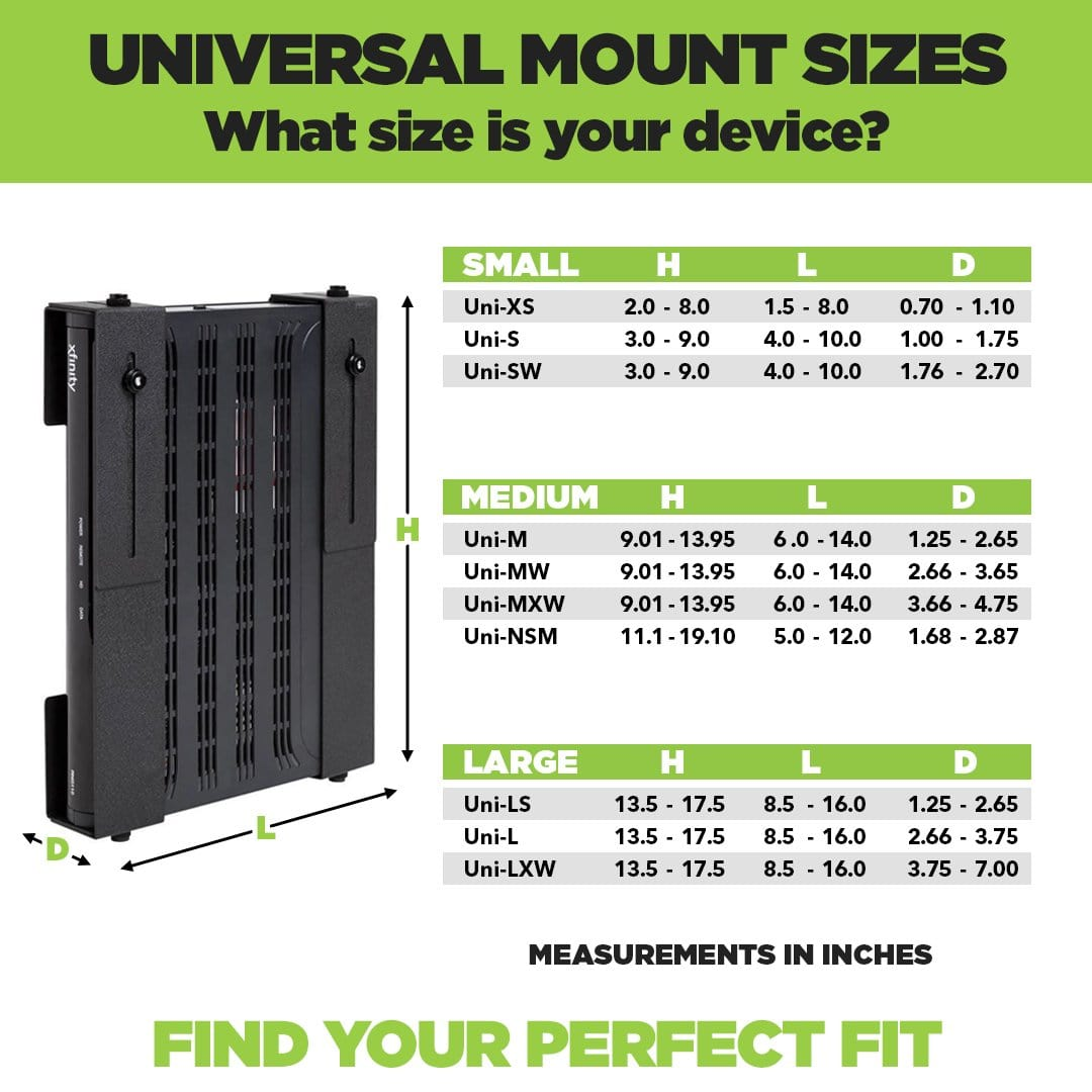 Universal Mount and Adjustable Mount dimensions chart for HIDEit Universal + Adjustable Mounts.