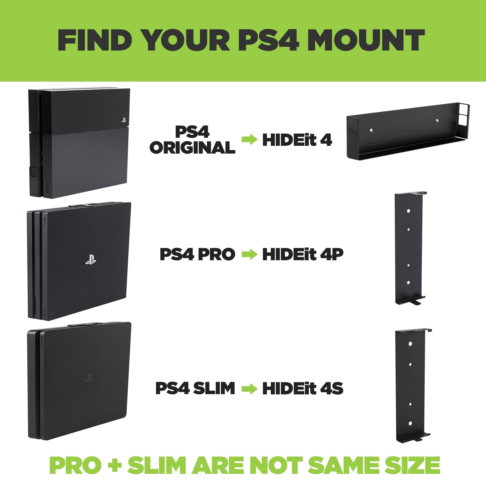 Original PS4 Wall Mount, PS4 Pro Mount, PS4 Slim Wall Mount