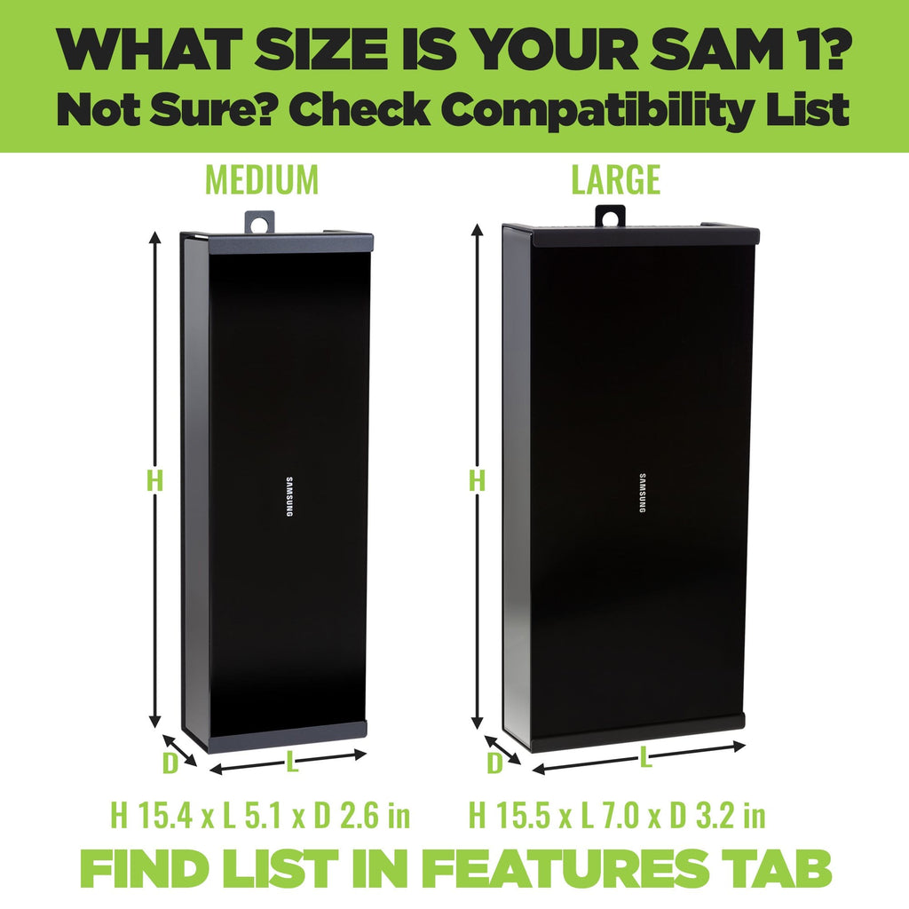 Chart showing the size difference between the Large Samsung One Connect Box and the medium Samsung One Connect