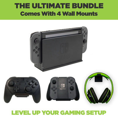 The ultimate Nintendo Switch Dock Wall Mount Bundle. Comes with HIDEit Switch Wall Mount, 2 JoyCon Controller Mounts and 1 headset wall mount.