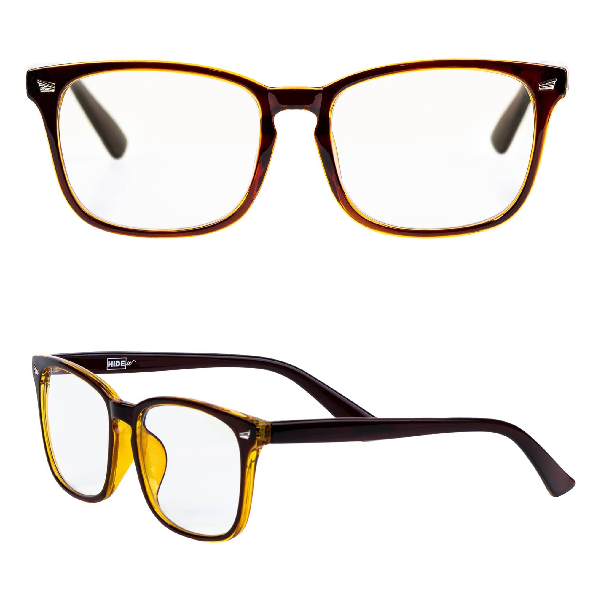 Brown and amber computer glasses reduce eye strain and other negative effects of blue light from electronics.