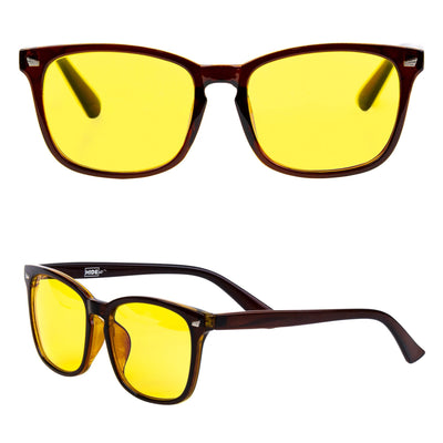 Brown and amber gaming glasses with yellow tinted lenses to block blue light from screens.