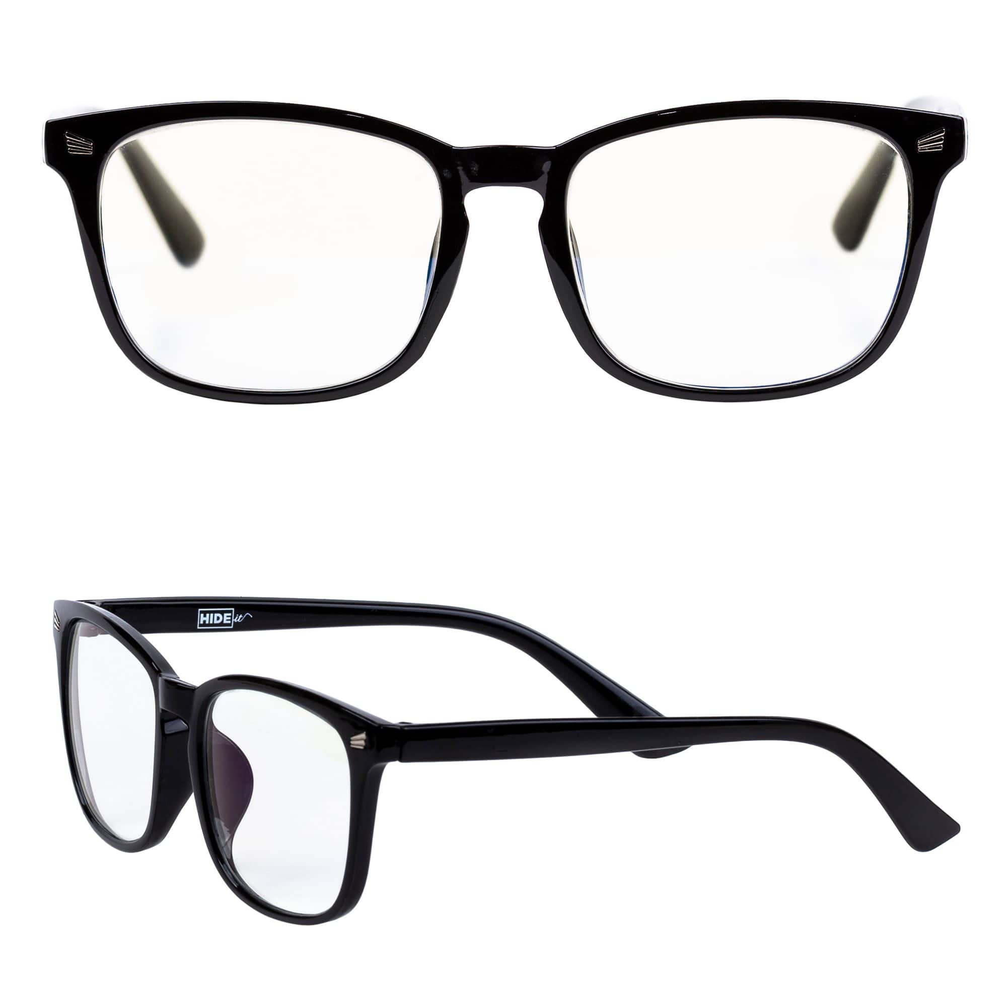 Glossy black computer glasses with clear lenses to help block most blue light effects.