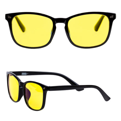 Glossy black gaming glasses with yellow lenses to block blue light from computers.