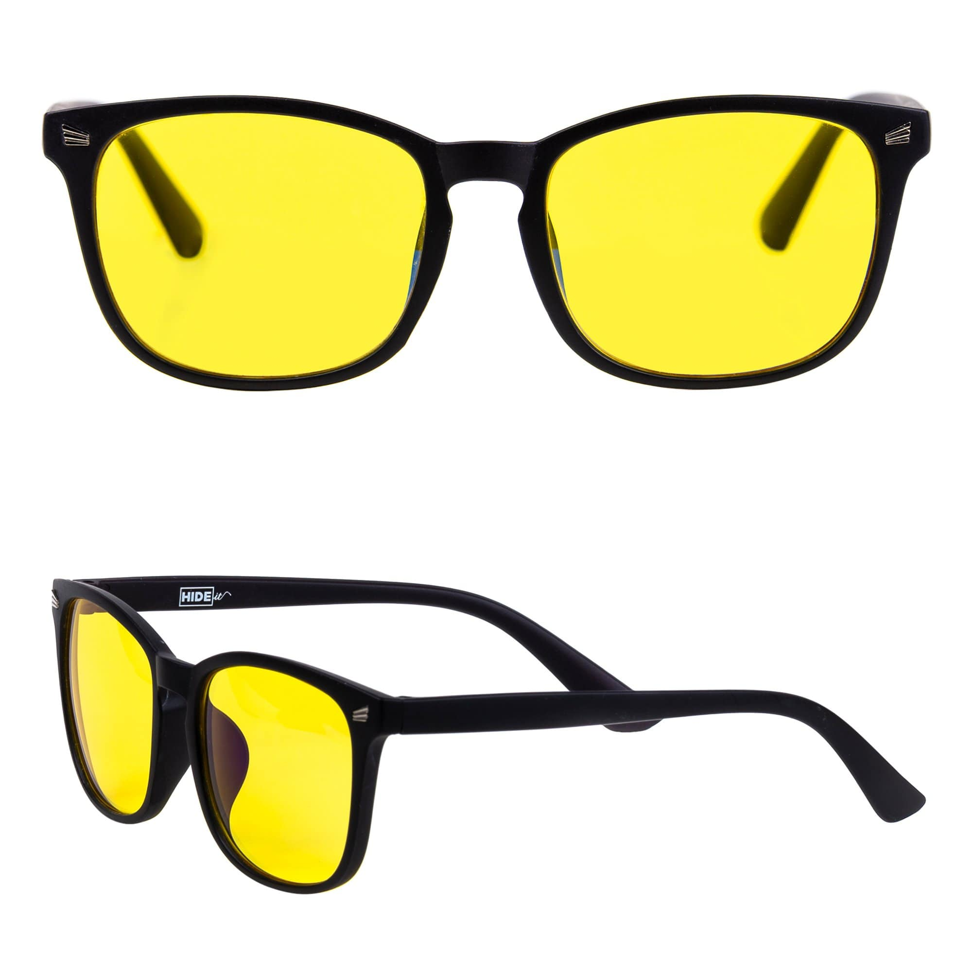 Matte black gaming glasses with yellow lenses to block up to 79% of blue light.