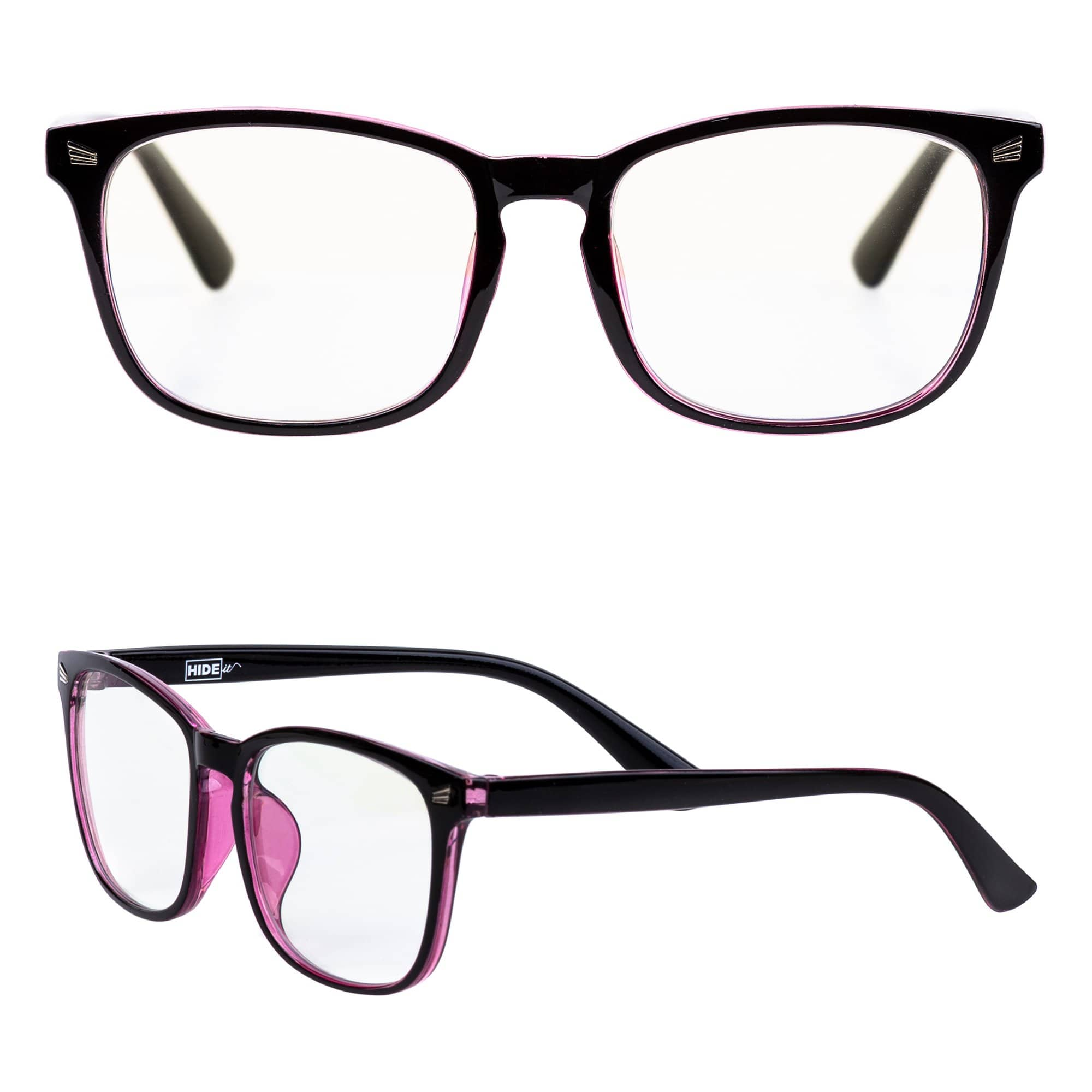 Black and pink blue light blocking glasses reduce eyestrain and headaches from blue light.
