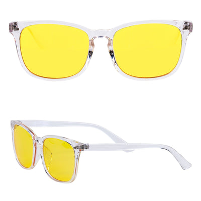 HIDEit Blue blocker glasses with yellow lenses to block blue light from extended gaming.