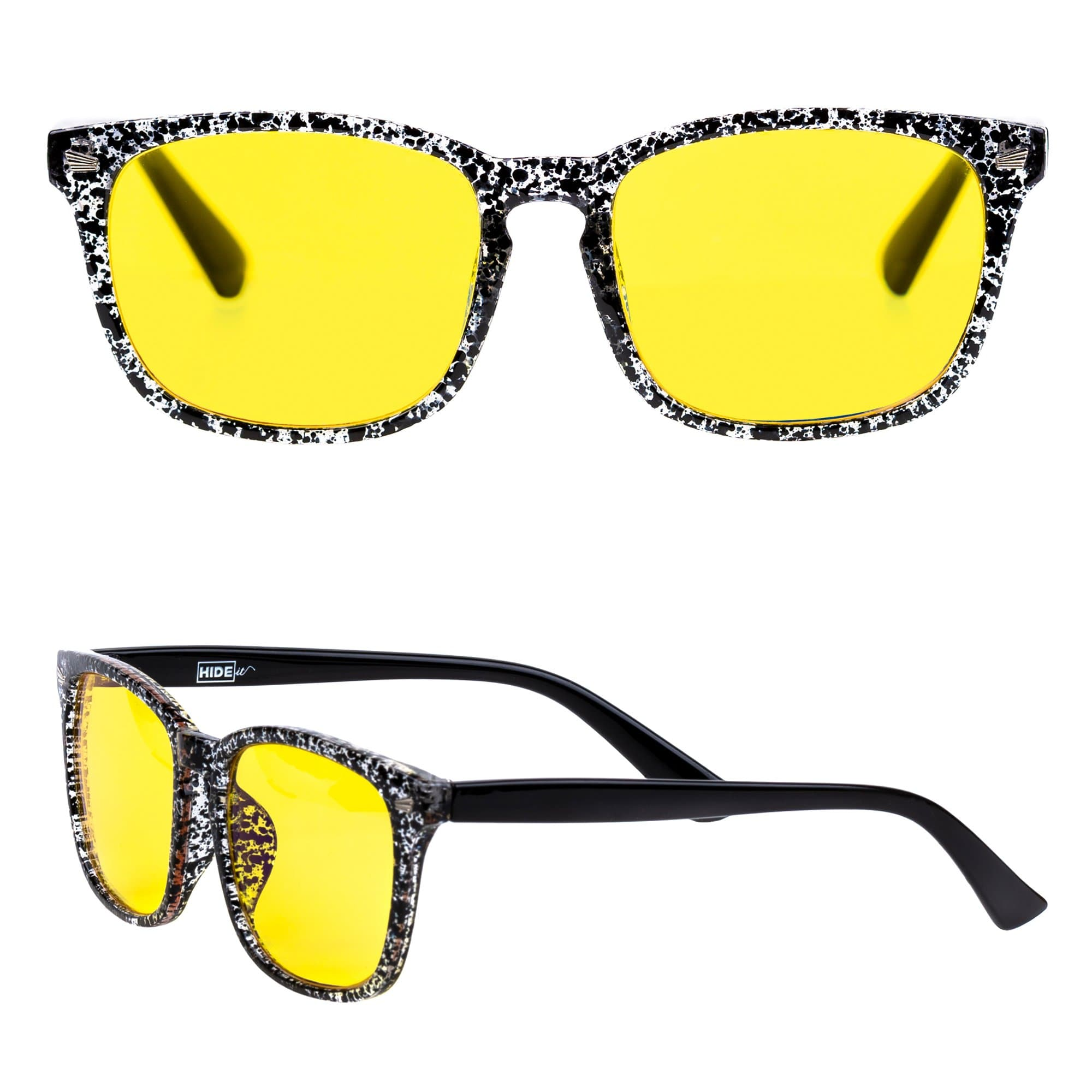 Speckle and yellow lens glasses for blocking blue light from electronics screens, made by HIDEit Mounts.