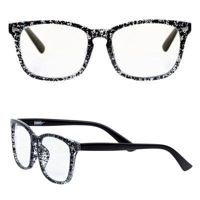 Speckled anti blue light glasses with clear lenses for all day computer use.