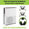 The ultimate Xbox One S Wall Mount Bundle. Comes with HIDEit X1S Wall Mount, 2 Xbox Controller Mounts and 1 headset wall mount.