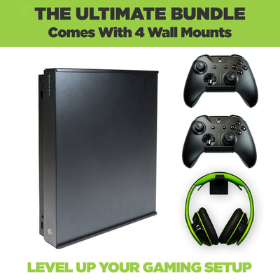 The ultimate Xbox One X Wall Mount Bundle. Comes with HIDEit X1X Wall Mount, 2 Xbox Controller Mounts and 1 headset wall mount.