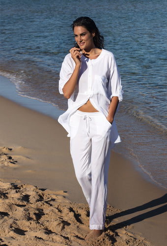 Vacances Delice White Linen Beach Cover Up Blouse